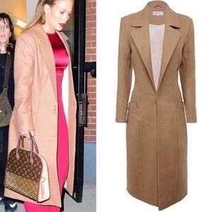 House of CB Mila Wool Blend Camel Long Coat